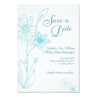 Whoopsie Daisy Simple Aqua Blue Save the Date 9 Cm X 13 Cm Invitation Card