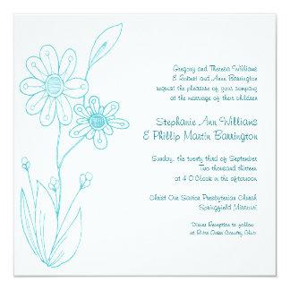 Whoopsie Daisy Simple Flowers Aqua Blue Wedding 13 Cm X 13 Cm Square Invitation Card