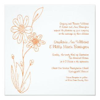 Whoopsie Daisy Simple Flowers Orange Wedding 13 Cm X 13 Cm Square Invitation Card