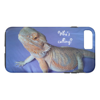 Who's calling Funny Bearded Dragon Print Blue iPhone 8 Plus/7 Plus Case