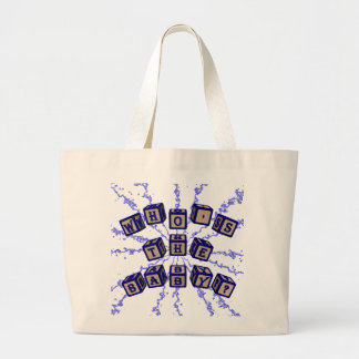 Who's the baby? toy blocks in blue. jumbo tote bag