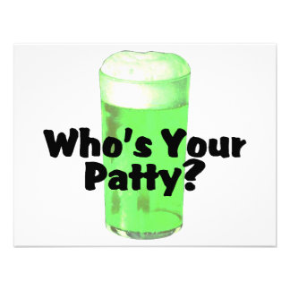 Whos Your Patty Green Beer St Patricks Day Custom Invites