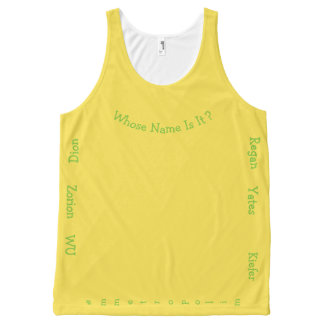 whose name is it? Unisex Tank, sweat wicking All-Over Print Singlet