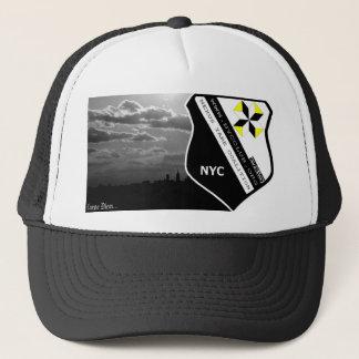 Wht BG, Blk dots Trucker Hat