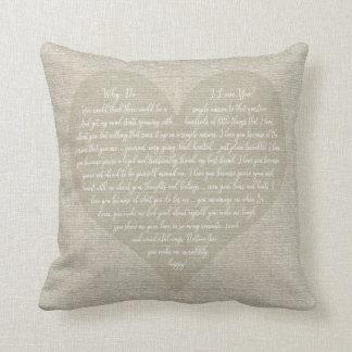 Why Do I Love You Heart shaped typography Cushion