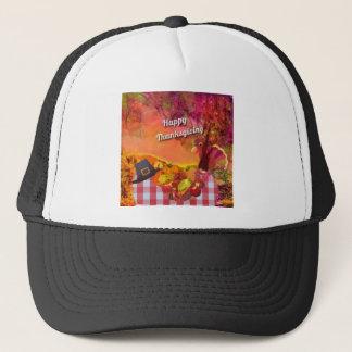 Why is the turkey hiding trucker hat