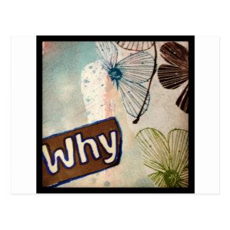 Why - mixed media art postcard