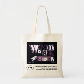 'Why Not Ask For More?' Purple Collage Tote Bag