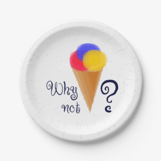 """""""Why not?"""" sign with ice-cream cone 7 Inch Paper Plate"""