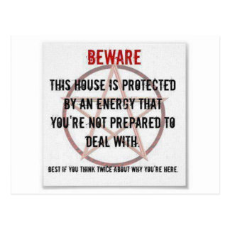 wicca energy protected house postcard
