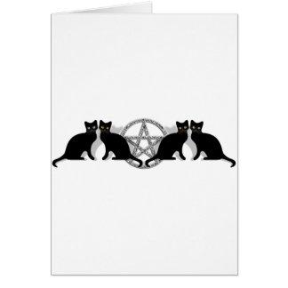 Wicca Magic Pentagram with Black Cat Familiar set Greeting Card