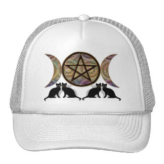 Wicca Pagan Triple Goddess Pentagram Cats Cap