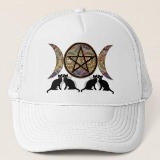 Wicca Pagan Triple Goddess Pentagram Cats Trucker Hat