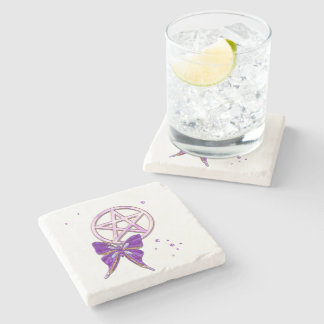 Wiccan Amethyst Jeweled Butterfly Art Stone Coaster