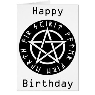 Wiccan Black Runic Pentagram Birthday Card