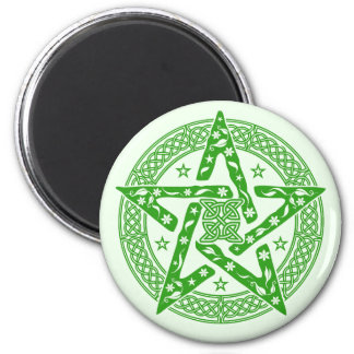 Wiccan Celtic Floral Pentgram with Stars 6 Cm Round Magnet