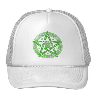 Wiccan Celtic Knot Pentagram with Floral Pattern Cap