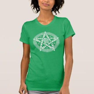 Wiccan Celtic Knot Pentagram with Floral Pattern Tshirts