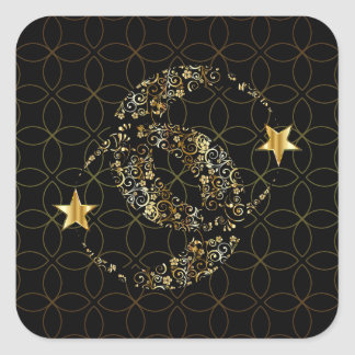 Wiccan Floral Moon and Star Square Sticker