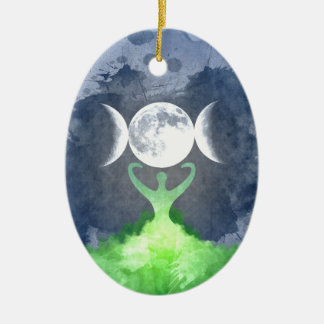 Wiccan Mother Earth Goddess Moon Ceramic Ornament