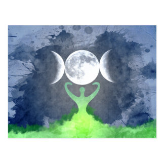 Wiccan Mother Earth Goddess Moon Postcard