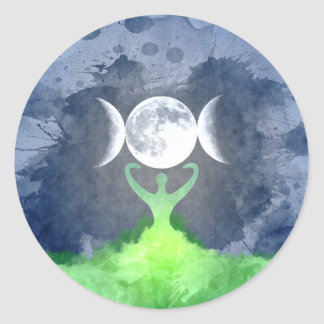 Wiccan Mother Earth Goddess Moon Round Sticker