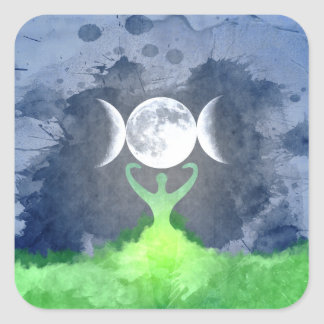 Wiccan Mother Earth Goddess Moon Square Sticker