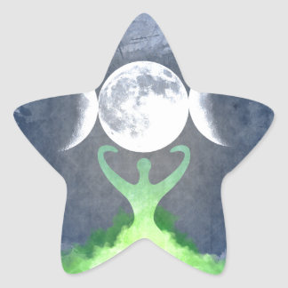 Wiccan Mother Earth Goddess Moon Star Sticker