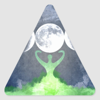 Wiccan Mother Earth Goddess Moon Triangle Sticker