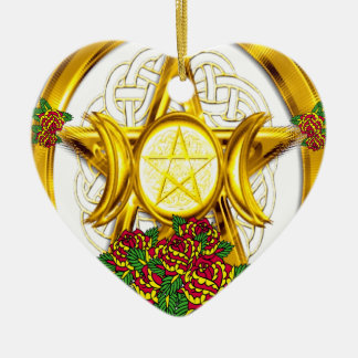 Wiccan Pagan Pentacle Gold With Roses Ceramic Ornament