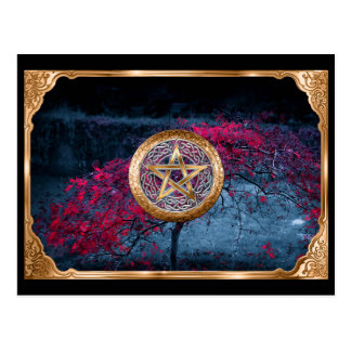 Wiccan Pagan Pentagram Alter Cloth Postcard