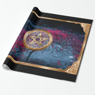 Wiccan Pagan Pentagram Alter Cloth Wrapping Paper