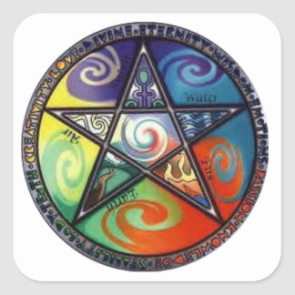 Wiccan Pentagram Square Sticker