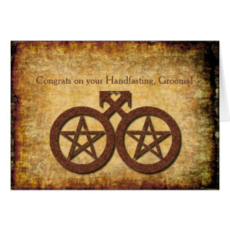 Wiccan Rustic Handfasting Card for Gay Grooms