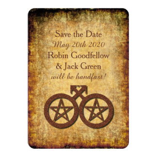 Wiccan Rustic Save the Date Card Gay Handfastings