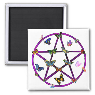 Wiccan Star and Butterflies Refrigerator Magnet