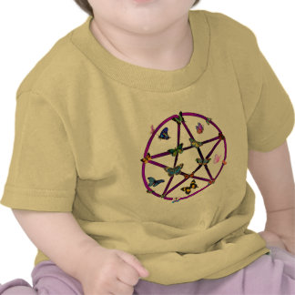 Wiccan Star and Butterflies Tee Shirts