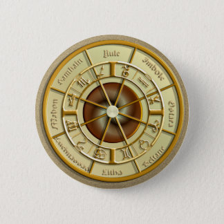 Wiccan Wheel of the Year 6 Cm Round Badge