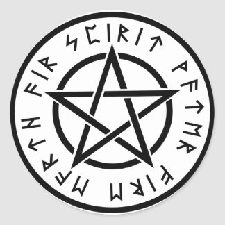 Wiccan white pentagram classic round sticker