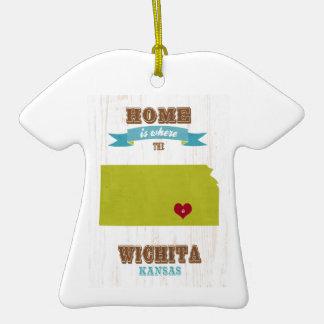 Wichita, Kansas Map – Home Is Where The Heart Is Christmas Tree Ornament