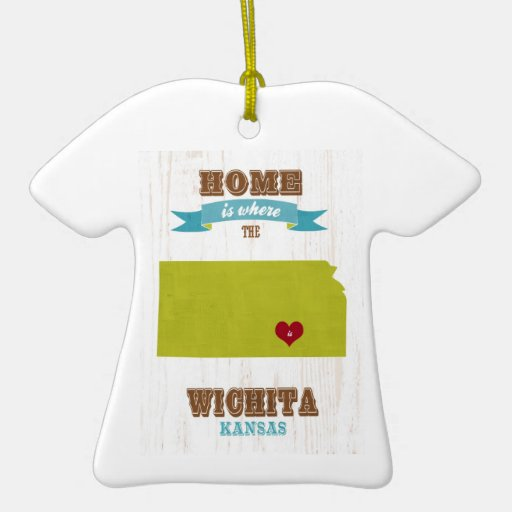 Wichita, Kansas Map – Home Is Where The Heart Is Christmas Tree Ornament