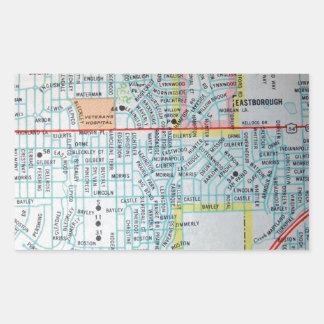 Wichita, KS Vintage Map Rectangular Sticker