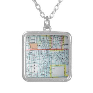 Wichita, KS Vintage Map Silver Plated Necklace