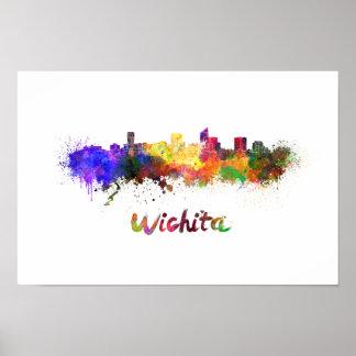Wichita skyline in watercolor poster