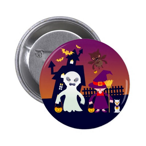 Wicked Ghost and Witch on Halloween Night Pins