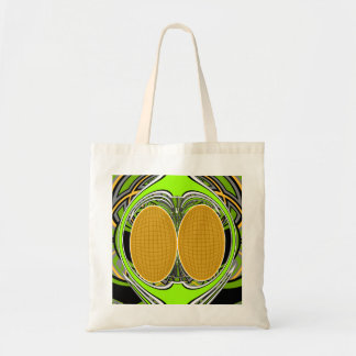 Wicked green and yellow superfly skateboard design budget tote bag
