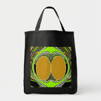 Wicked green and yellow superfly skateboard design grocery tote bag