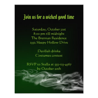 Wicked green smoke Halloween gothic invitation