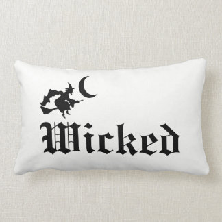 Wicked Halloween Witch Gothic Decor Black & White Lumbar Cushion