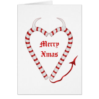Wicked red and white candy cane heart card